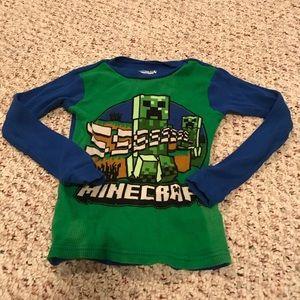 Minecraft long sleeve pajama shirt size boys 8